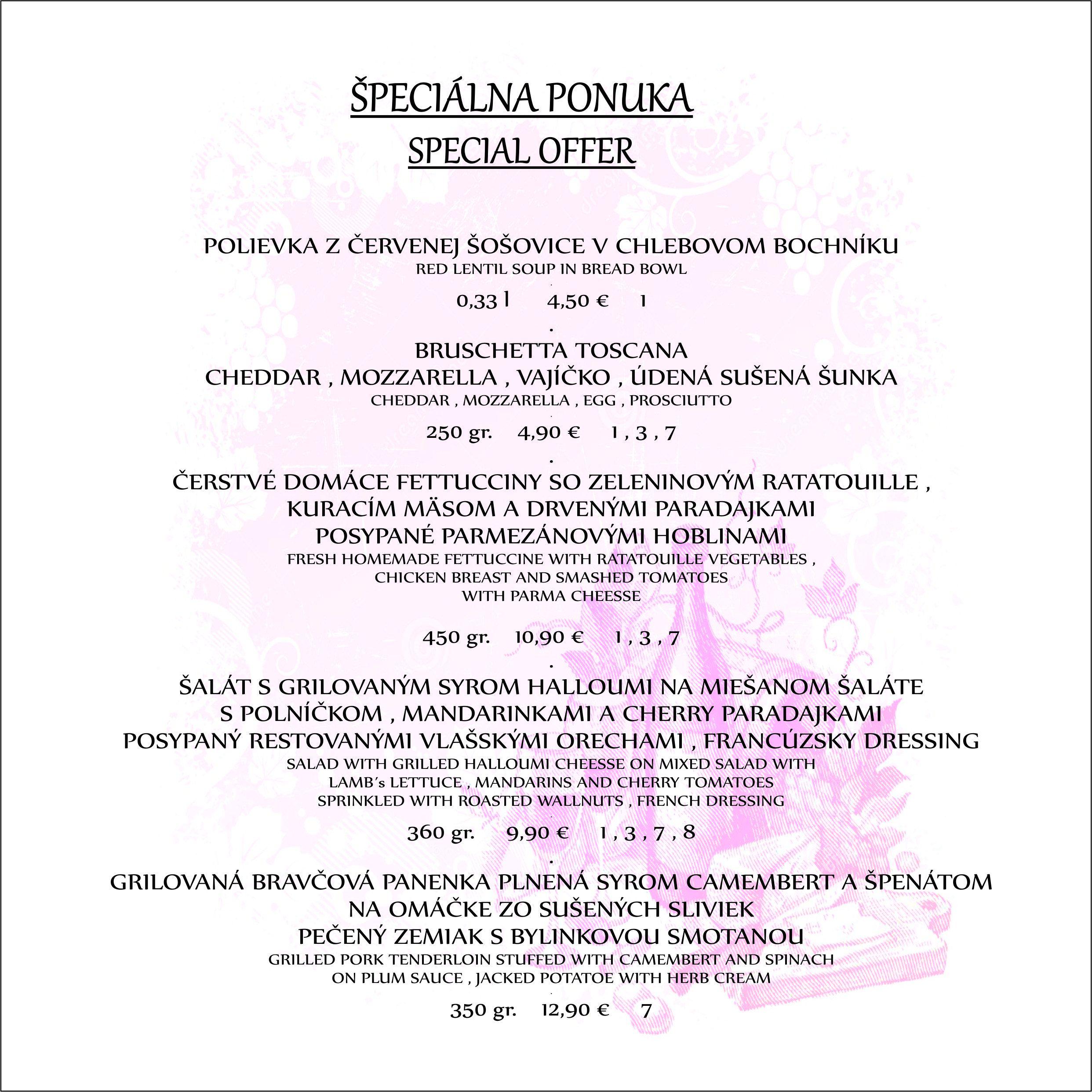 spec menu